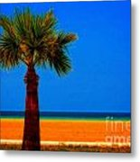 A Digitally Converted Painting Of A Lone Palm Tree At The Seaside Metal Print