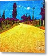 A Digitally Converted Painting Of An Empty Country Lane Metal Print