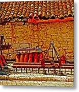 A Digitally Converted Painting Of Farm Machinery In A Turkish Village Metal Print