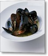 A Dish Of Mussels Metal Print