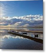 A Dock Leading Out Into The Lake At Metal Print