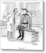 A Doctor Inspects A Royal Canadian Mounted Metal Print