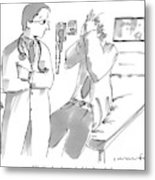 A Doctor Is Talking To A Patient Seated Metal Print