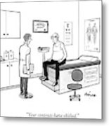 A Doctor Talks To An Old Man With A Gut Metal Print
