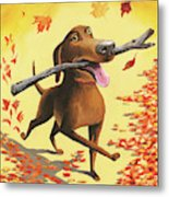A Dog Carries A Stick Through Fall Leaves Metal Print