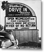 A Drive-in Theater Marquee Metal Print