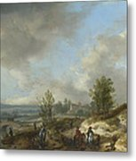 A Dune Landscape With A River And Many Figures Metal Print