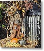 A Fall Scarecrow Display Metal Print