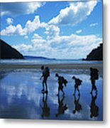 A Family Of Hikers Walks Metal Print
