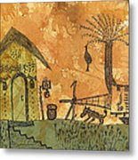 A Farm In India With Hut And Bull Cart Metal Print by Nikunj Vasoya