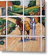 A Farm Scene On Plaza Tiles Metal Print