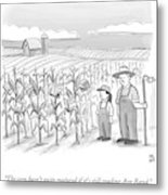 A Farmer And His Daughter Look At Cornstalks Who Metal Print by Paul Noth