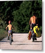 A Father And Son Ride Their Bikes To Go Metal Print