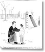 A Father Encourages His Son At The Playground Metal Print