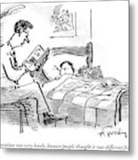 A Father Tucks His Son Into Bed With A Bedtime Metal Print