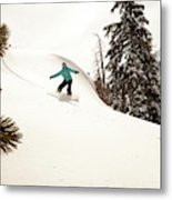 A Female Snowboarder Lays Out Some Metal Print