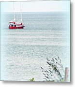 A Fine Day For A Red Boat Metal Print
