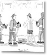 A Fireman In His Boxers Talks To His Colleagues Metal Print