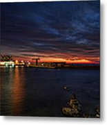 a flaming sunset at Tel Aviv port Metal Print