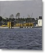 A Floating Platform With A Number Of Pipes Used For Construction Metal Print