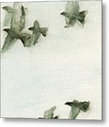 A Flock Of Pigeons 2 Watercolor Painting Of Birds Metal Print