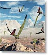 A Flock Of Thalassodromeus Pterosaurs Metal Print