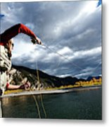 A Fly Fisher Casting His Line Metal Print