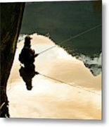 A Fly Fisherman Standing In A River Metal Print
