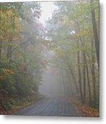 A Foggy Drive Metal Print