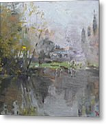 A Foggy Fall Day By The Pond  Metal Print