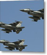 A Formation Of Turkish Air Force F-16cd Metal Print