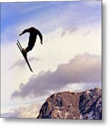 A Freestyle Skier Takes A Jump In Utah Metal Print