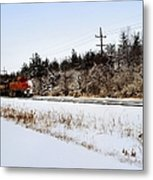 A Freight Train On A Snowy Day  Metal Print by Tom Druin