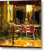 A French Cafe And Friends Metal Print
