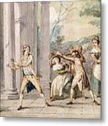 A Game Of Blind Mans Buff, C.late C18th Metal Print