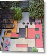 A Garden With Colourful Landscaping In Dr Metal Print