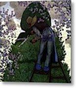 A Gardener Pruning A Tree Metal Print