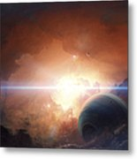 A Gas Giant Partly Hidden In A Nebula Metal Print