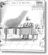 A General Plays Piano At A Bar Metal Print
