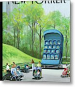 A Giant Stroller With 16 Babies In It Sits Metal Print