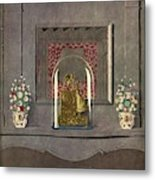 A Gilded Mantle Clock In A Bell Jar Metal Print