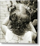 A Girl And Her Curls Metal Print