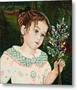 A Little Girl With Flowers Metal Print