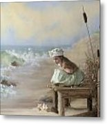 A Girl Posed By The Seashore Victoria Metal Print
