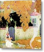 A Girl Sweeping Leaves Metal Print