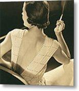 A Glamourous Woman Smoking Metal Print