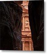 A Glimpse Of Al Khazneh From The Siq In Petra Jordan Metal Print