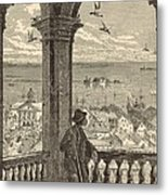 A Glimpse Of Charleston And Bay From St. Michael's Church 1872 Engraving By Harry Fenn Metal Print by Antique Engravings
