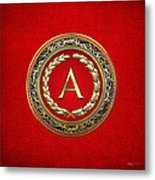 A - Gold Vintage Monogram On Red Leather Metal Print