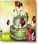 A Golfers Birthday Cake Metal Print